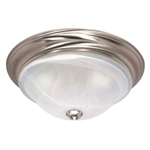 Nuvo Lighting Triumph Brushed Nickel One-Light Flush Mount with Sculptured Alabaster Glass