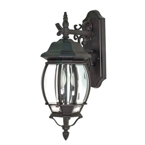 Central Park Textured Black Outdoor Wall Mount