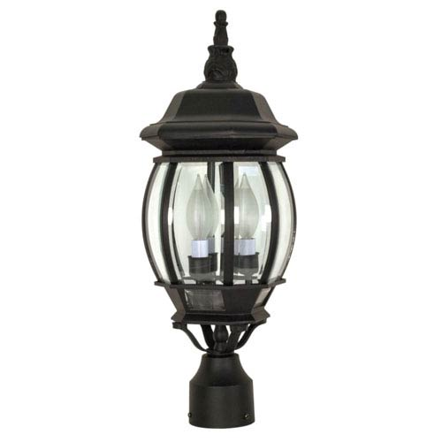 Central Park Textured Black Three-Light Outdoor Post Mount with Clear Beveled Glass Panels