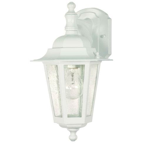 Nuvo Lighting Cornerstone White One-Light Outdoor Wall Mount with Clear Seed Glass