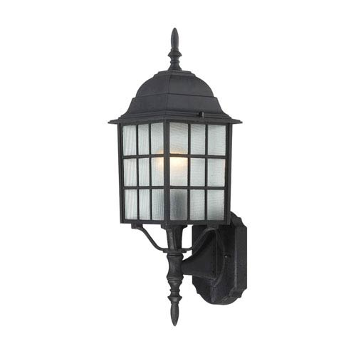Nuvo Lighting Adams Textured Black Finish One Light Outdoor Wall Sconce with Frosted Glass