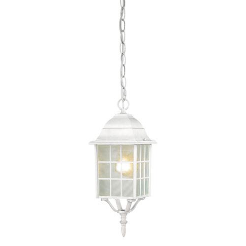 Adams White Finish One Light Outdoor Hanging Pendant with Frosted Glass
