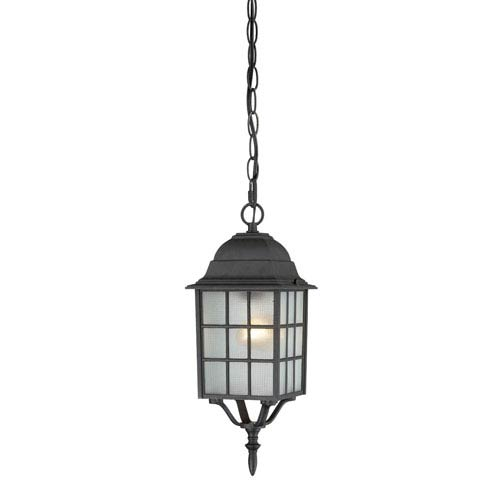 Adams Textured Black Finish One Light Outdoor Hanging Pendant with Frosted Glass