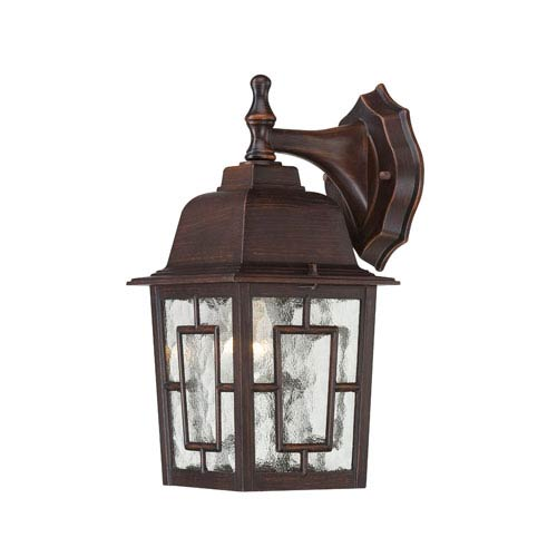 Nuvo Lighting Banyon Rustic Bronze Finish One Light Outdoor Wall Sconce with Clear Water Glass