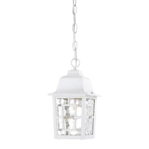 Nuvo Lighting Banyon White Finish One Light Outdoor Hanging Pendant with Clear Water Glass