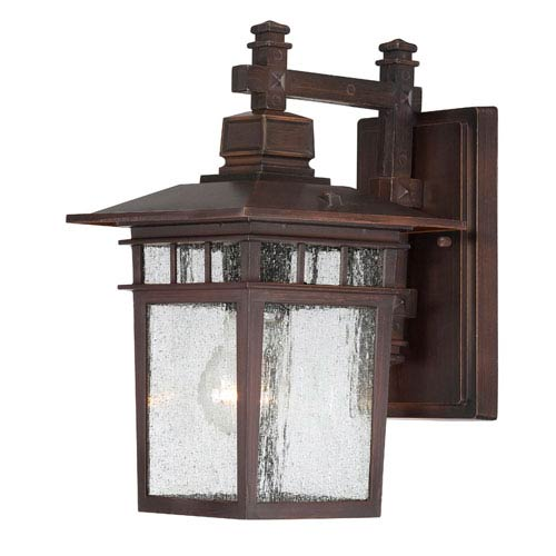 Cove Neck Rustic Bronze Finish One Light Outdoor Wall Sconce with Clear Seeded Glass
