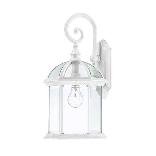 Nuvo Lighting Boxwood White Finish One Light Outdoor Wall Sconce with Clear Beveled Glass