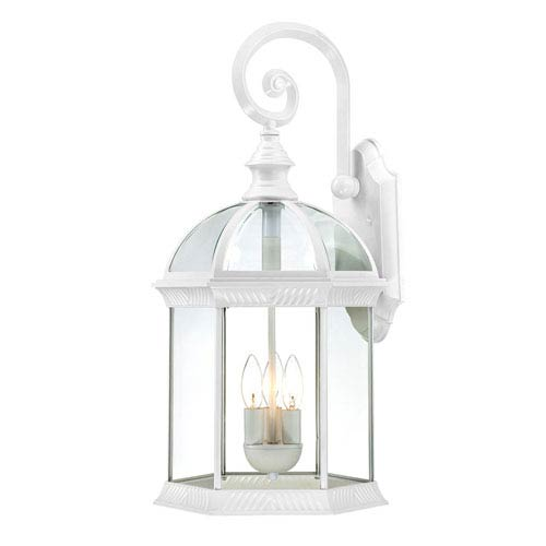 Boxwood White Finish Three Light Outdoor Wall Sconce with Clear Beveled Glass