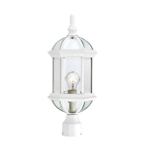 Nuvo Lighting Boxwood White Finish One Light Outdoor Post Mount with Clear Beveled Glass