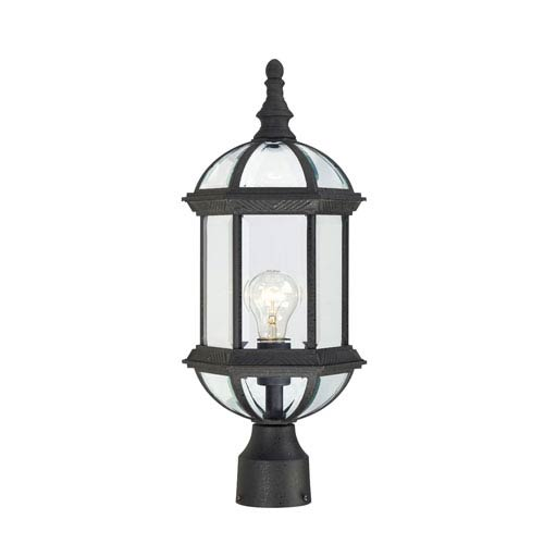 Nuvo Lighting Boxwood Textured Black Finish One Light Outdoor Post Mount with Clear Beveled Glass