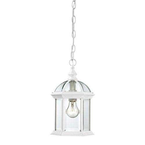 Nuvo Lighting Boxwood White Finish One Light Outdoor Hanging Pendant with Clear Beveled Glass