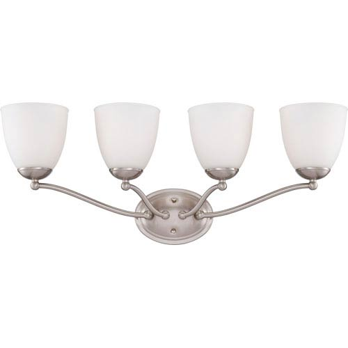 Nuvo Lighting Patton Brushed Nickel Finish Four Light Vanity Fixture with Frosted Glass
