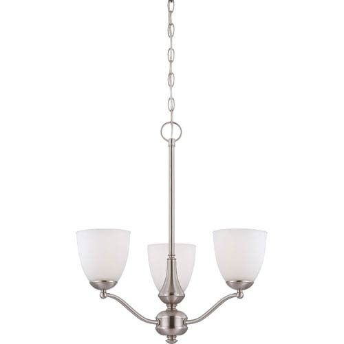 Nuvo Lighting Patton Brushed Nickel Finish Three Light Chandelier (Arms Up) with Frosted Glass