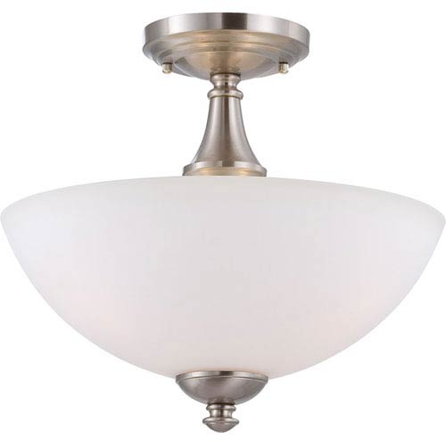 Nuvo Lighting Patton Brushed Nickel Finish Three Light Semi Flush with Frosted Glass