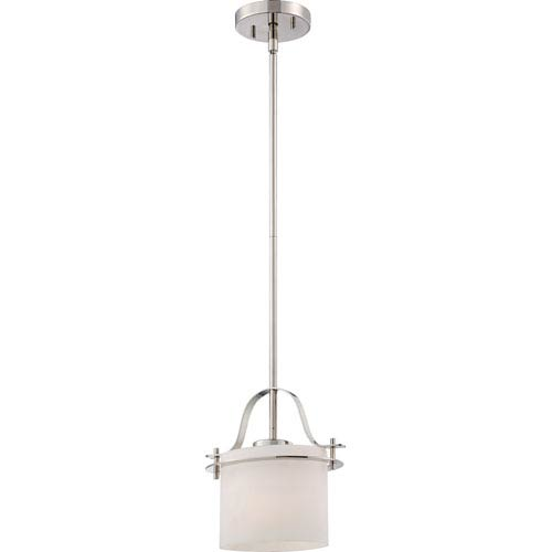 Nuvo Lighting Loren Polished Nickel Finish One Light Mini Pendant with Etched Opal Glass