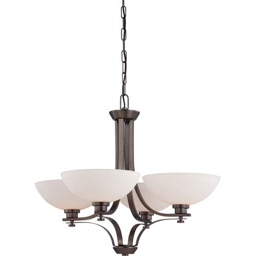 Nuvo Lighting Bentley Hazel Bronze Finish Four Light Chandelier with Frosted Glass