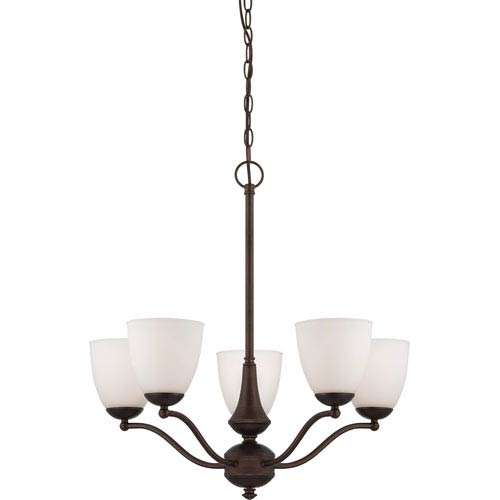 Patton Prairie Bronze Finish Five Light Chandelier (Arms Up) with Frosted Glass