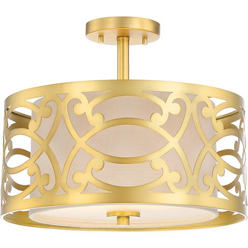 Nuvo Lighting Filigree Natural Brass Two-Light Semi-Flush Mount