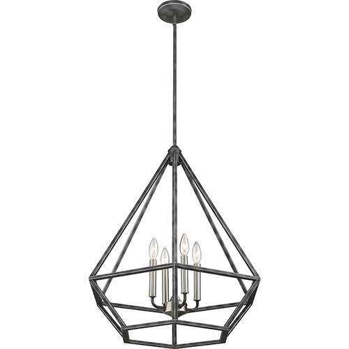 Nuvo Lighting Orin Iron Black with Brushed Nickel Accents Four-Light Pendant