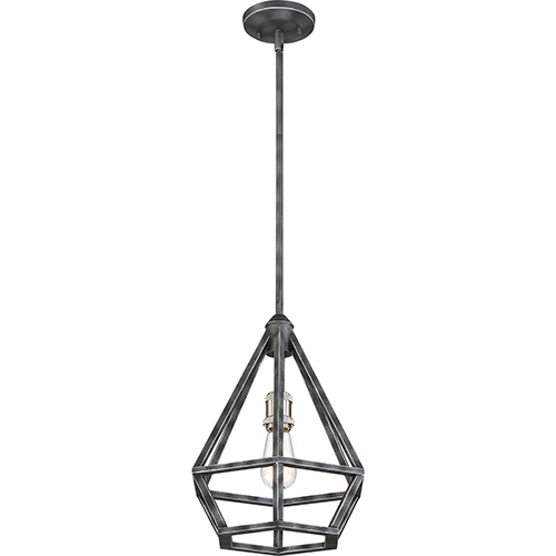 Nuvo Lighting Orin Iron Black with Brushed Nickel Accents One-Light Pendant