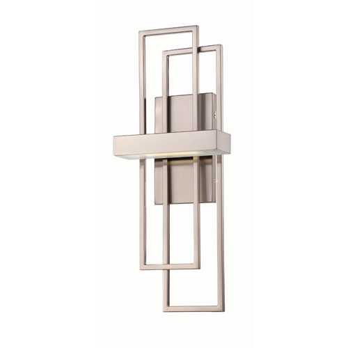 Frame Brushed Nickel One-Light LED Wall Sconce w/ Frosted Glass
