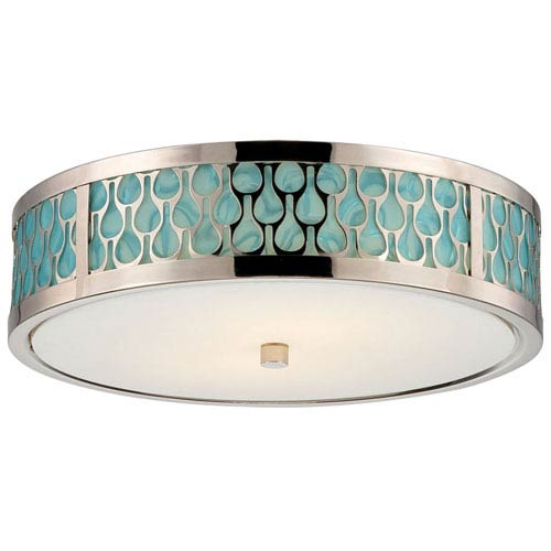 Nuvo Lighting Raindrop Polished Nickel Two-Light LED Flush Mount w/ White Glass and Removable Aquamarine Insert