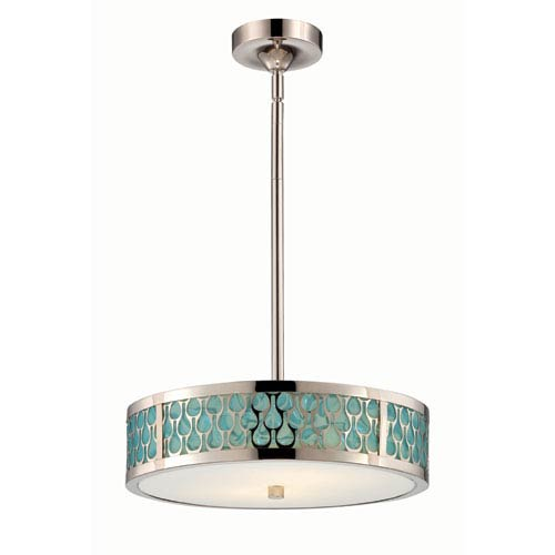 Nuvo Lighting Raindrop Polished Nickel Two-Light LED Small Pendant w/ White Glass and Removable Aquamarine Insert