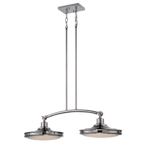 Nuvo Lighting Houston Polished Nickel Two Light LED Pendant with Frosted Glass