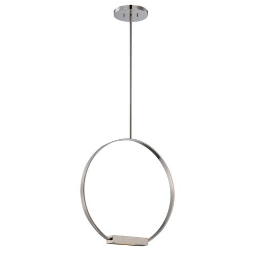 Nuvo Lighting Cirque Polished Nickel One Light LED Pendant with Frosted Glass