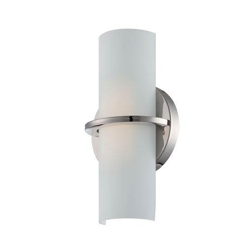 Nuvo Lighting Tucker Polished Nickel One Light LED Vanity Fixture with Etched Opal Glass