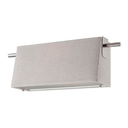 Nuvo Lighting Claire Polished Nickel One Light LED Vanity Fixture with White Fabric Shade