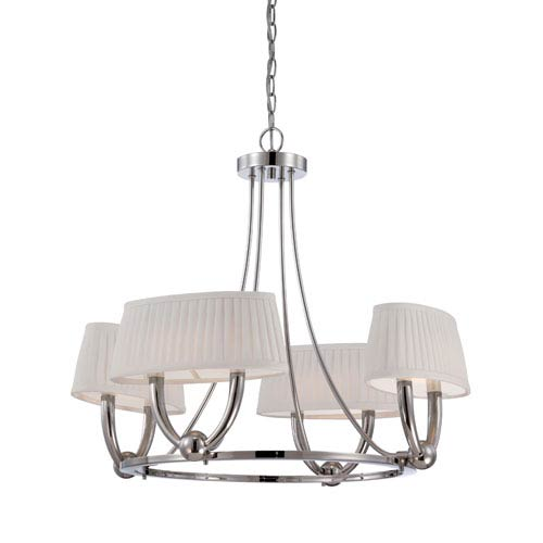 Kent Polished Nickel Four Light LED Chandelier with White Linen Fabric