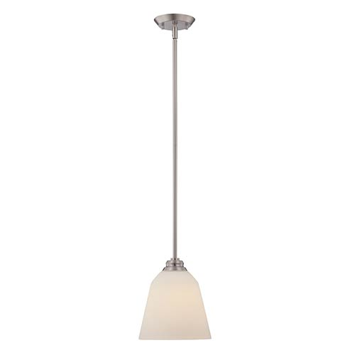 Nuvo Lighting Calvin Brushed Nickel LED Mini Pendant with Satin White Glass