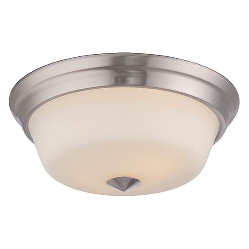 Nuvo Lighting Calvin Brushed Nickel LED Flush Mount with Satin White Glass