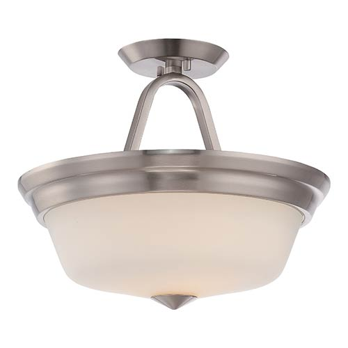 Nuvo Lighting Calvin Brushed Nickel LED Semi-Flush with Satin White Glass