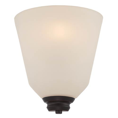 Nuvo Lighting Calvin Mahogany Bronze LED Wall Sconce with Satin White Glass