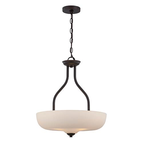 Nuvo Lighting Kirk Mahogany Bronze LED Bowl Pendant with Etched Opal Glass