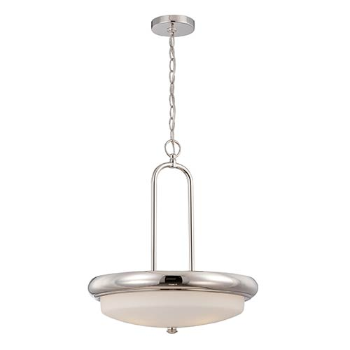 Nuvo Lighting Dylan Polished Nickel LED Bowl Pendant with Etched Opal Glass