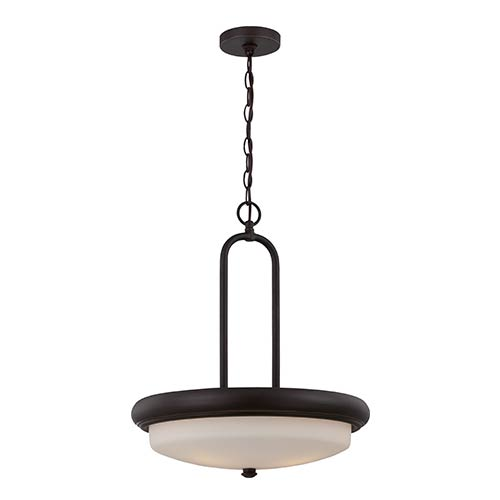 Nuvo Lighting Dylan Mahogany Bronze LED Bowl Pendant with Etched Opal Glass