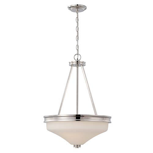 Nuvo Lighting Cody Polished Nickel LED Bowl Pendant with Satin White Glass