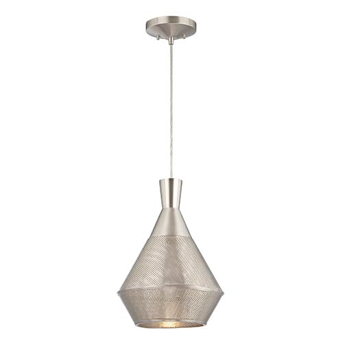 Jake Satin Steel LED Dome Pendant with Perforated Metal Shade