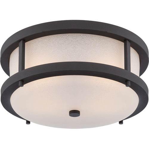 Willis Textured Black Two-Light LED Outdoor Flush Mount