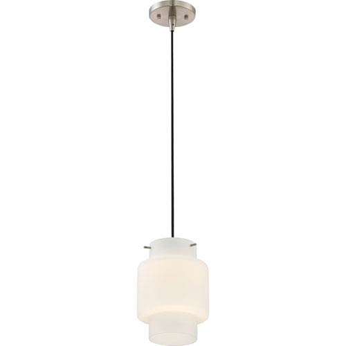 Nuvo Lighting Del Brushed Nickel LED Mini Pendant with Opal Glass