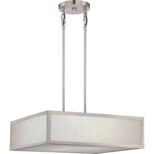 Crate Brushed Nickel LED Pendant with Gray Marbelized Panels