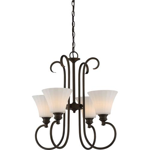 Nuvo Lighting Tess Aged Bronze Four-Light LED Chandelier