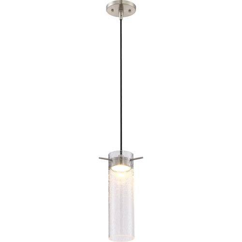 Pulse Brushed Nickel LED Mini Pendant with Clear Seeded Glass