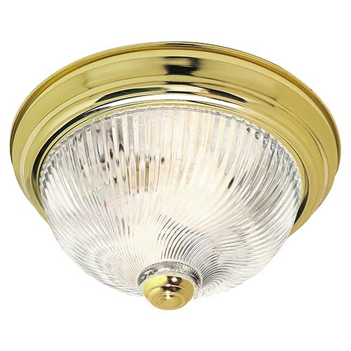 Nuvo Lighting Polished Brass Two-Light 11-Inch Wide Flush Mount with Clear Ribbed Swirl Glass