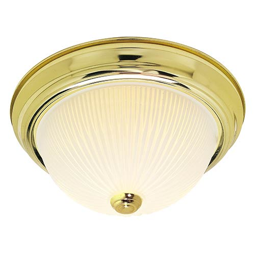 Polished Brass Three-Light 15-Inch Wide Flush Mount with Frosted Ribbed Glass