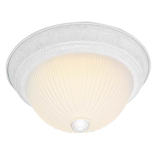 Textured White Three-Light 15-Inch Wide Flush Mount with Frosted Ribbed Glass