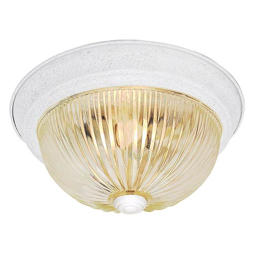 Nuvo Lighting Textured White Two-Light 11-Inch Wide Flush Mount with Clear Ribbed Glass